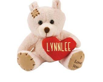 Personalized Valentines Day Bear; Valentine Heart Bear; Valentines Day Gift; Valentines Stuffed Animal; Valentine; Valentines Day Teddy Bear