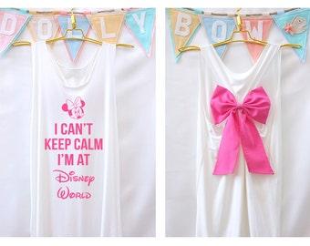 I'can keep calm i'm at Disney world MinnieTank Premium with Bow : Workout Shirt - Keep Calm Shirt - Tank Top - Bow Shirt - Razor Back Tank