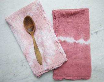 Flour Sack Shibori Dish Towel, Tea Towel: Dusty Rose