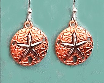 ON SALE Ready to ship - Starfish Sand Dollar earrings/copper and silver colored dangle earrings/drop earrings--