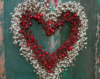 Valentine Wreath Farmhouse Wreath Heart Wreath Grapevine