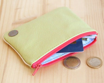 Large Wallet in Recycled Lime green Leather / Pink zipper Women Cardholder / Flowers pouch / Mother day personalize gift / Birthday / PC40