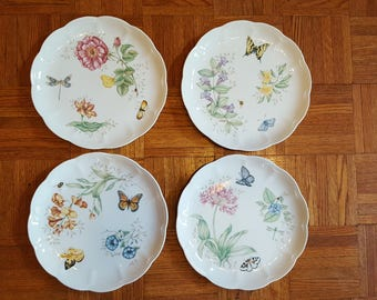 4 Lenox Butterfly Meadow Dinner Plates