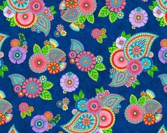 170138 Blue Paisley Floral, Night Bright by Wilmington Prints