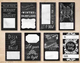 Printable PDF Gift Tags - Chalkboard - Holiday Winter Christmas - Black and White Vintage Modern Chalk Music Lyric Tag