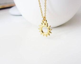 Gold sunburst necklace, sun necklace, sun pendant necklace, gold sun necklace, gold charm necklace, sun necklace gold,celestial