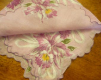 Vintage Handkerchief, 1970s, Sheer Pink and Flowered Cotton Hankie, Antique Linens, Vintage Hankies, Embroidered Linens, Wedding,