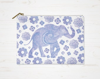Purple White Pouch, Boho Cosmetic Bag, Bohemian Purse, Accessory Pouch, Large Pencil Case, Small Makeup Bag, Elephant Toiletry Bag