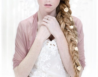 Dust Rose Wedding Shrug, Bridesmaids Bolero, Bridal Loop Cover Up With 4 Wearing Options- Shawl, Shrug, Crisscross And Infinity Scarf