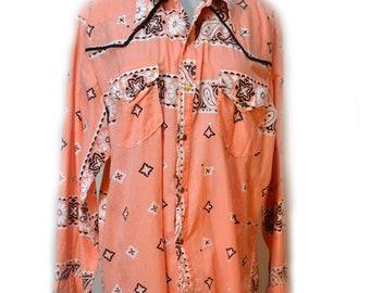 Mens Western Shirt Pink Snap Shirt