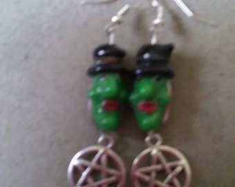 Witch Face Pentacle Earrings