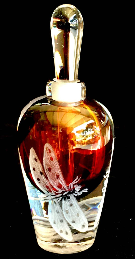 Hand Engraved Perfume Bottle Dragonglies, Handblown Perfume Bottle, Bathroom Decor, Vanity, Dragonfly Etched, Bridal Gifts