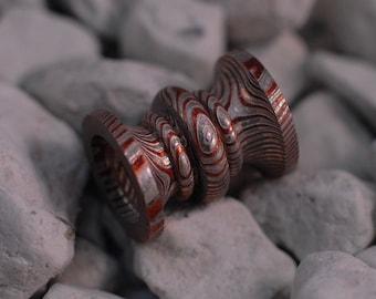 Custom Mokume Gane unique handmade paracord bead, Tri Metal : Neusilber Copper Nickel #15