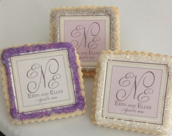 Lavender wedding favors custom cookies--1 Dozen