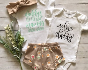 NEW! SUMMER DAISIES/ Infant Shorties Set/Toddler Shorties Set