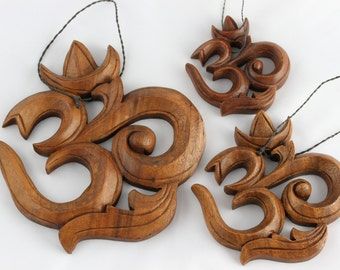 Om Wall Hanging - Hand Carved wooden Om hanging - Choose from 3 sizes small, medium, or large Om wood carving - yogi gift - Aum Wall Art