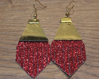 Holiday Titan Leather Earrings - Red Glitter and Shiny Gold