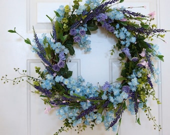 Spring Wreath, Door Wreath Lavender Wild Flowers Blue Purple Shabby Chic Wreath