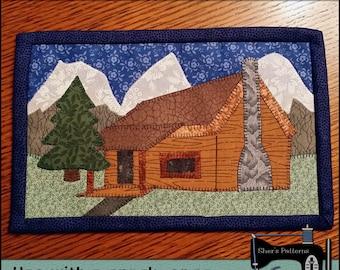 PDF Pattern for Mountain Cabin Mug Rug, Cabin Mug Rug Pattern, Vacation Mini Quilt Pattern - Sewing Pattern, Tutorial, DIY