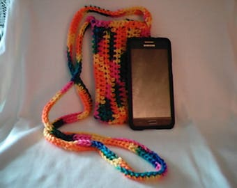 Crochet Cross Body Cell Phone Pouch Cozy in Bikini