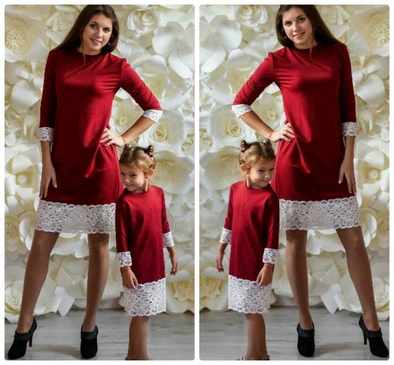 Mother Daughter Matching Dress Warm Jersey Marsala Dresses