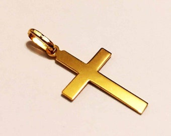 "14k solid yellow gold(1""inch)engravable cross"