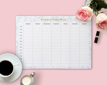 Marble Planner, Marble Gold Schedule, Weekly Planner, Printable Schedule, Gold Planner, Gold Printable, Planner Agenda, A4 letter schedule