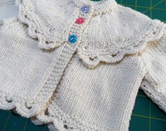 Hand Knitted Baby Cardigan - Handmade Wool  Baby Knit - New Born Baby - Knitted Baby Jacket - Woollen Baby Top - Pure Wool