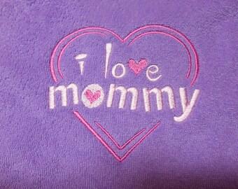 Baby Bib,* I Love Mommy Bib, Purple Embroidered Bib, Baby Girl Bib, Gift Idea for Baby Shower Gift, Bibs,