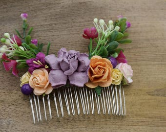 Purple  Mulberry Paper flower Hair comb, Bridal hair comb, Bridal flower headpiece, Wedding hair comb