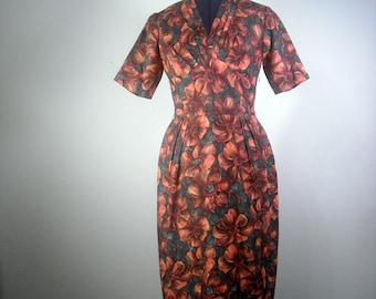Floral Dress Cocktail Vintage 1960s Women Wiggle Dress Orange Floral Mad Men Fashion