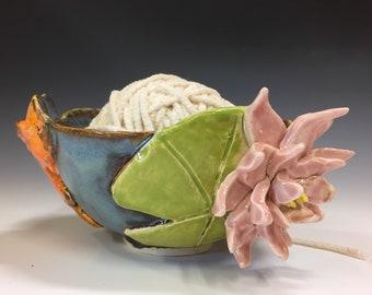 Koi and Lily Pads Ceramic Yarn Bowl