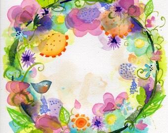 "Flower Wreath original watercolor painting artwork 9""x9"""