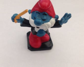 Vintage Smurfs Papa Smurf Conductor  Figure 1980s 80s
