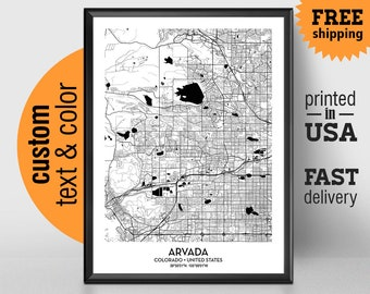 Arvada city map Etsy