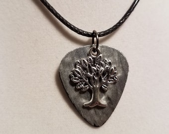 Guitar pick Necklace made from  Vinyl Record -  Tree of Life free hanging