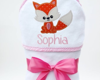 Fox Baby Girl Towel, Fox Baby Gift, Personalized Baby Towel, Monogrammed Bath Towel, Fox Baby Shower, Baby Girl, Toddler Girl Towel