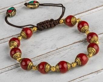 Red Coral Bracelet, Wrist Mala Bracelet, Meditation Bracelet, Buddhist Prayer Bead, Women Bead Bracelet