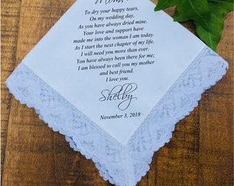 Wedding handkerchief, Mother of the Bride Handkerchief, Mother of the Bride Gift, Mother of the groom gift PRINTED handkerchief gift (H 043)