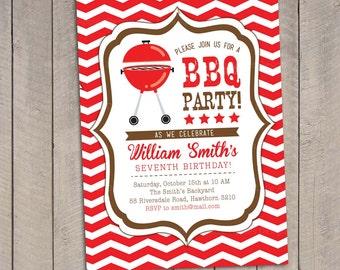 BBQ Invitation / Bbq Birthday invitation / Backyard Bbq Invitation / Graduation Bbq Invitation / Printable Bbq Invitation / Bbq Invite