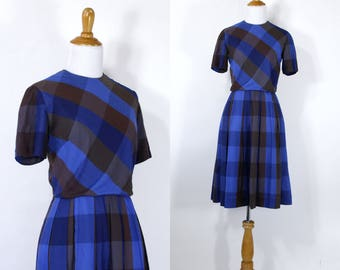 Vintage 1960s Dress | 50s 60s Blue and Brown Fall Pleated Plaid Day Dress | M L