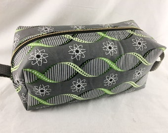 Toiletry Bag - Atoms and Double Helix- Biology- School Supplies - Pencil, Electronics case- Graduation Gift