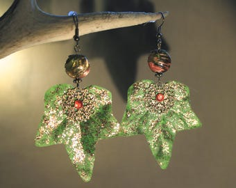"""Ivy leaves"" earrings fantasy, nature, bucolic"