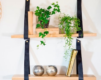 Black leather straps for hanging  shelf. Straps only, floating shelves, living room decor, leather shelves, leather decor, decorative shel