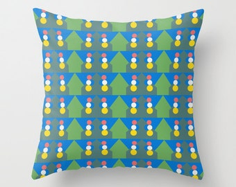 Green Pattern, Pillow Cover, 16x16, 18x18, 20x20,home decoration,interior design,colorful,kids decor,Modern Living,Mosaic,Contemporary Decor
