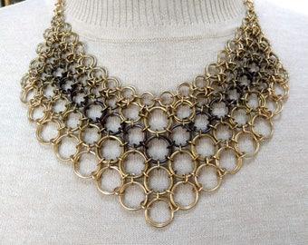 Ombre Tri-Tone Chain Maille Bib Necklace