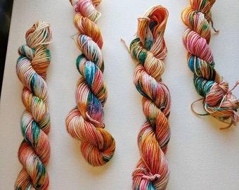 Brilliant Sunset, hand dyed yarn, sock yarn