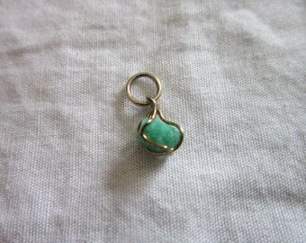 Vintage Petite Gold wire wrapped REAL Stone Charm