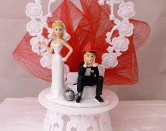 Wedding Reception Ceremony Party Ball & Chain Fireman Firefighter Cake Topper
