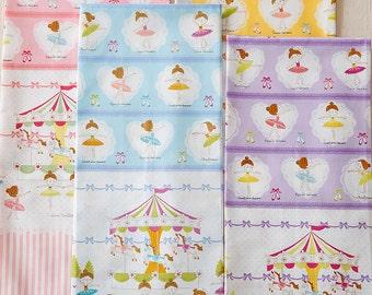 Prima Ballerina Border Fabric K5005 - Kokka Japanese Cotton Putite Ecole - choose length and color